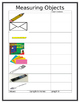 Length Math Work Station Measuring Objects Response sheet inches centimeters