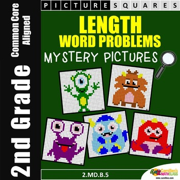 2nd Grade Word Problems - Length Mystery Pictures Activity