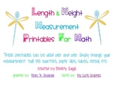 Length & Weight Measurement Printables For Math