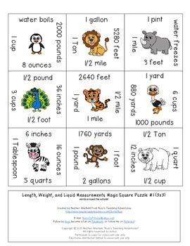 Measurement Activities | Length Weight & Liquids Math Center Games