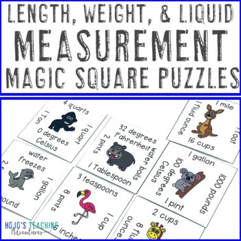 Length, Weight, and Liquid Measurement Math Center Game