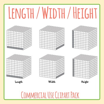 Length Width and Height Measuring Illustrations Clip Art Set for Commercial Use
