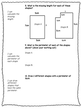 Length and Perimeter Assessment - Pre and Post Test