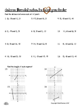 Length of a Line (DISTANCE) Guided Notes & Practice Problems