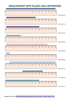 Length practice sheet using rulers to measure rectangles up to 15 cms long