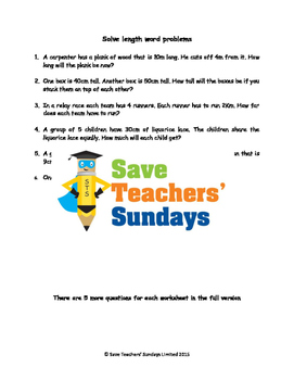 Length Word Problems (4 levels of difficulty)