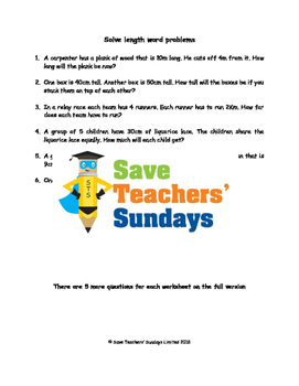 Length word problems lesson plans, worksheets and more