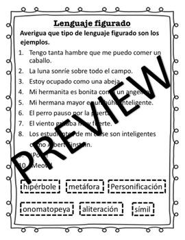 Lenguage Figurado (Editable sorting activity in Spanish!)