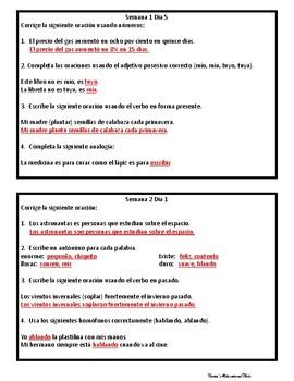 Lenguaje Diario - Terceras seis semanas