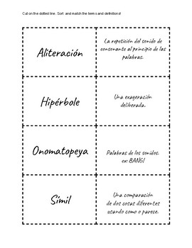 Lenguaje Figurado: Term and Definition sort in Spanish!