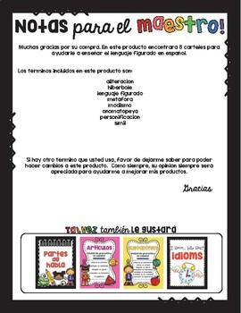 Lenguaje figurado /Figurative Language Spanish Posters
