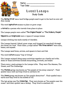 Lenni lenape study guide and test by jessica damaskinos tpt lenni lenape study guide and test publicscrutiny Image collections