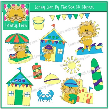 Lenny Lion By The Sea CU Clipart