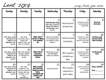 Lent Calendar 2017