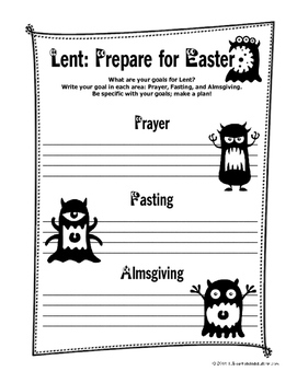 Lent Countdown and Goal Worksheets with Matthew 6