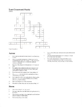 Lent Crossword Puzzle