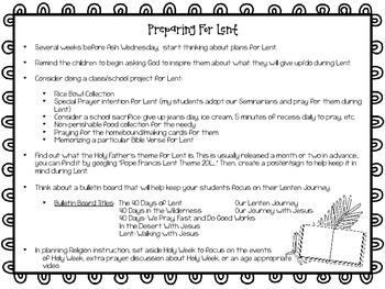 Lent Ideas for the Classroom