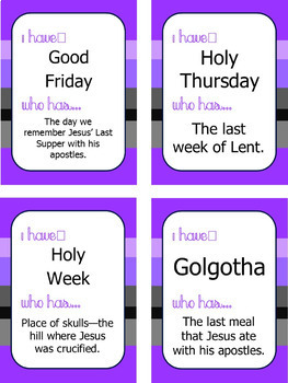 """Lent Game: Vocab and Trivia """"I Have... Who Has..."""""""