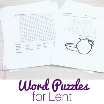 Lent Word Puzzles: No Prep Catholic Activities