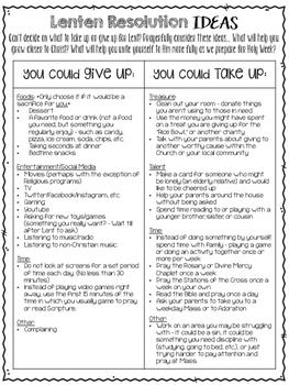 Lenten Resolution Ideas