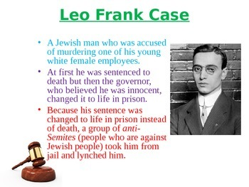 Georgia Studies Leo Frank Case Mock Murder Trial Activity Power Point
