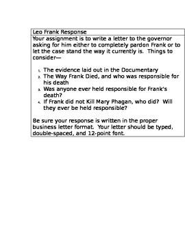 Leo Frank Response Letter