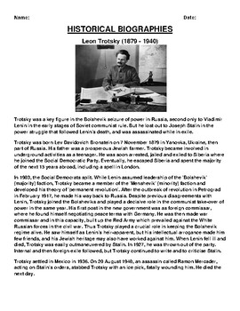 Leon Trotsky Biography Article and (3) Assignments