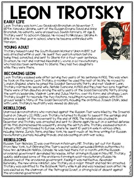 Leon Trotsky Biography Reading Comprehension Worksheet; Animal Farm, Russia