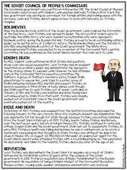 Leon Trotsky Biography Reading Comprehension Worksheet; Animal Farm, Russia