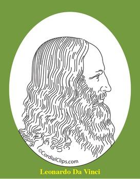Leonardo Da Vinci Clip Art, Coloring Page, or Mini-Poster