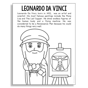Leonardo Da Vinci Coloring Page Craft or Poster, STEM Technology History