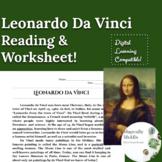 Leonardo Da Vinci Renaissance Artist Reading Comprehension Worksheet