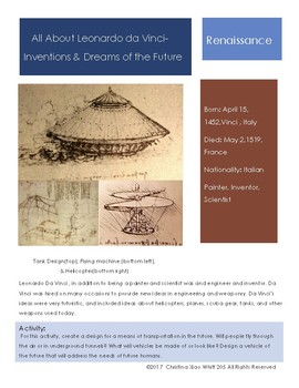 Leonardo Da Vinci Sketchbook Prompt- Inventions