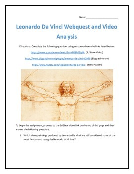 Leonardo Da Vinci- Webquest and Video Analysis with Key