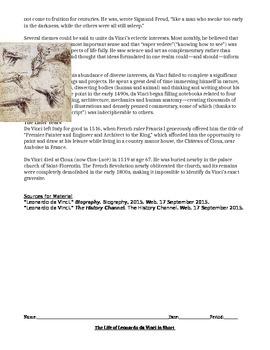Leonardo da Vinci Biography Guided Reading