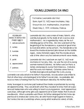 Leonardo da Vinci Biography Informational Texts Activities Grades 5 and 6