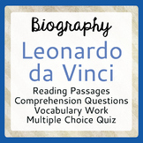 Leonardo da Vinci Biography Informational Texts Activities