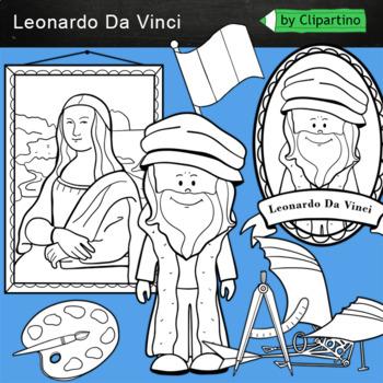 Leonardo da Vinci Clipart: BW black white