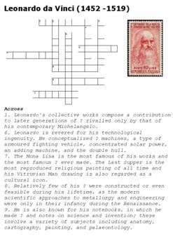 Leonardo da Vinci Quiz Crossword