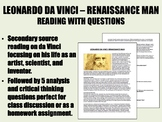 Leonardo da Vinci - Renaissance Man Reading w/ Questions - Global/World History