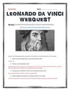 Leonardo da Vinci - Webquest with Key (History.com)