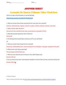 Leonardo da Vinci in 5 Minutes Video Worksheet