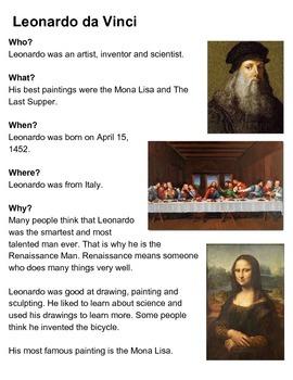 Leonardo da Vinci One-Sheeter