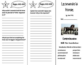 Leonardo's Horse Trifold - California Treasures 6th Grade Unit 4 Week 4