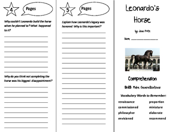 Leonardo's Horse Trifold - Treasures 6th Grade Unit 6 Week 1