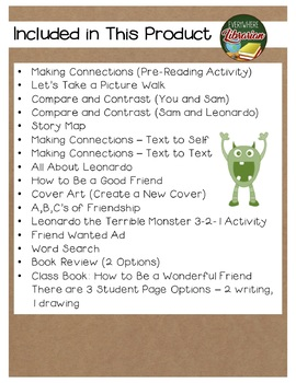 Leonardo the Terrible Monster by Mo Willems 15 Book Extension Activities NO PREP