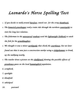 """Leonardo's Horse"" Spelling Dictation Test"