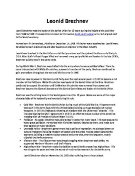 Leonid Brezhez Biography Article and Assignment Worksheet