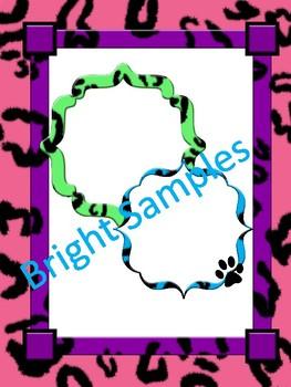 Leopard Animal Print Borders, Frames and Digital Paper Set