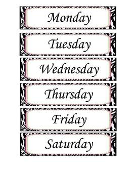 Leopard/ Cheetah/ Zebra Animal Print Days of the Week
